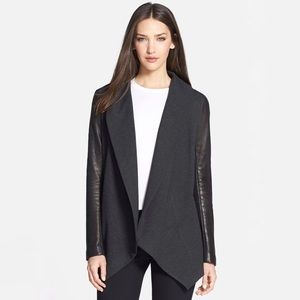Theory Laura Leather Sleeve Jacket Shawl Collar